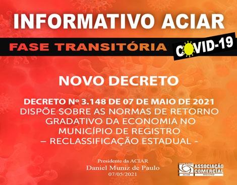 Notícia: Decreto nº 3.148 de 07 de maio de 2021