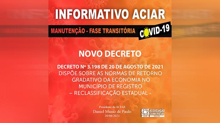 Notícia: Decreto nº 3.198 de 20 de agosto de 2021